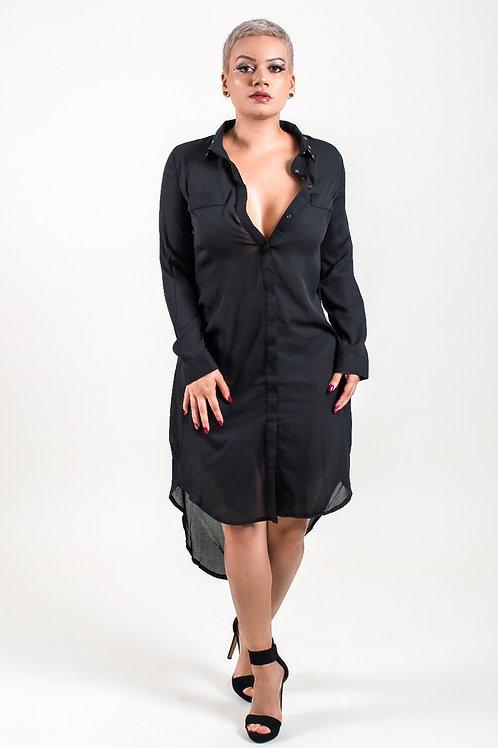 Alyson Stud Collar Long Shirt Dress Black
