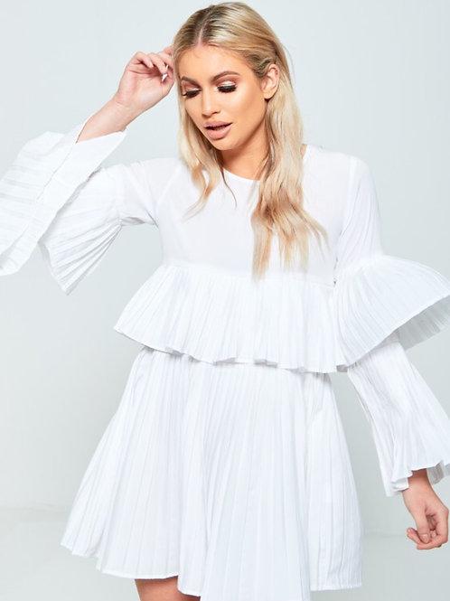 Mazz Pleated Ruffle Mini Dress