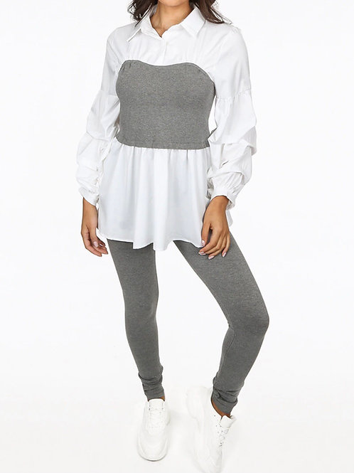 Vinah Shirt Jumper Ribbed Co-Ordinate Set