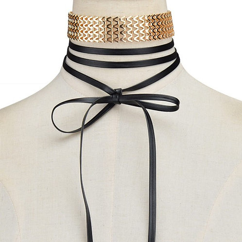 Joanne Alloy Leather Necklace