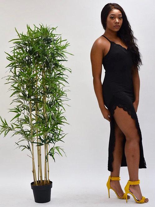 Erin Black Side Slit Lace Trim Dress
