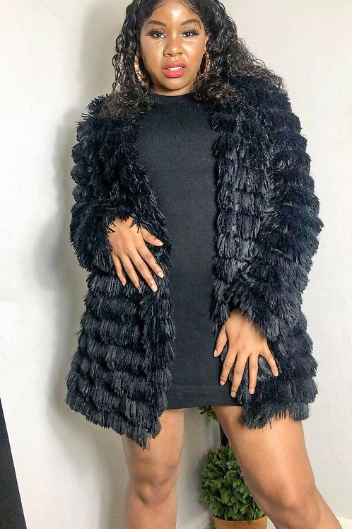 Dana Black Long Faux Fur Tassel Jacket