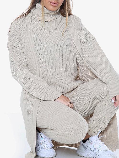Mukna 3pcs Roll Neck Knitwear Set