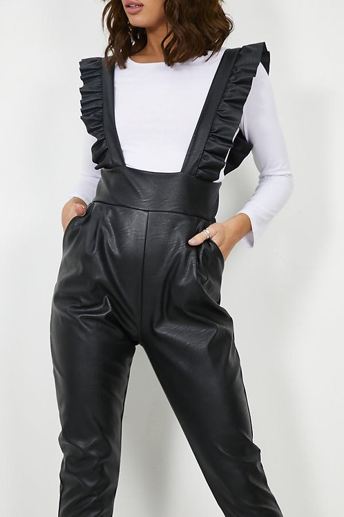 Zia Pinafore Leather Jumpsuit