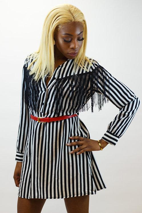 Destiny Stripe Tassel Belted Shirt Dress