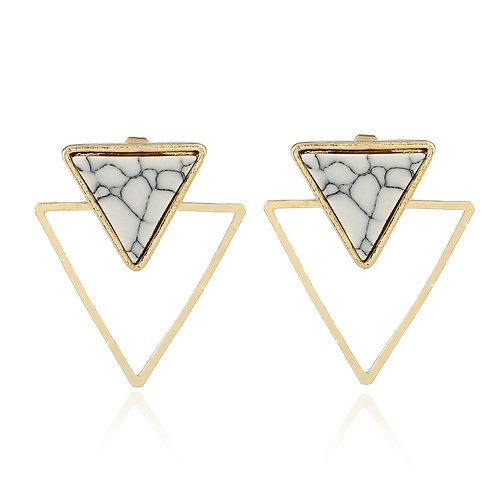 Marble Gold Triangle Stud Drop Earring