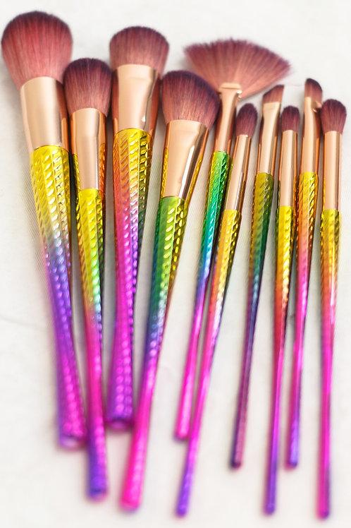 Vickzinoo Brown 10 Piece Magical Rainbow Makeup Brush Set
