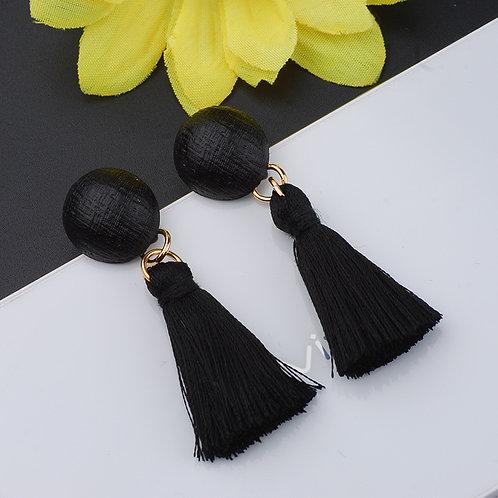 Havaa Black Tassel Drop Earrings