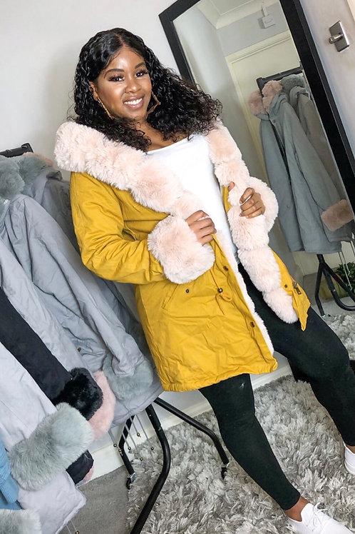 Bella Yellow Fur Hoody Puffer Jacket