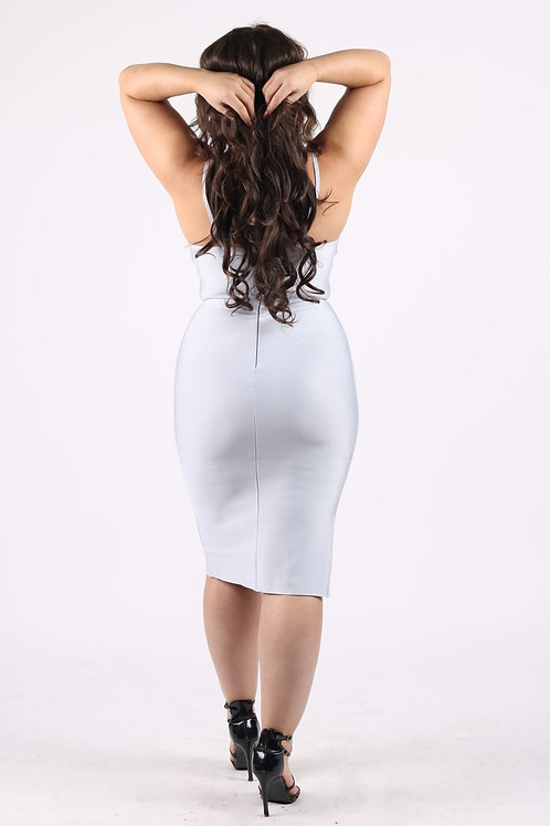 Prolly Light Blue Asymmetric Bandage Dress
