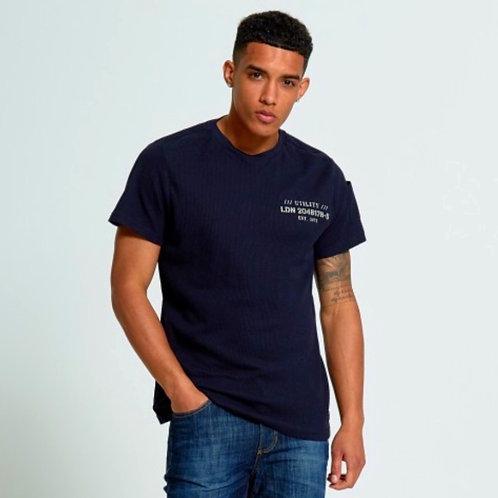 Bernard Navy Brave Soul Textured Logo Print T-Shirt