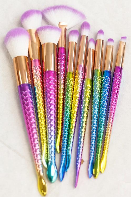 Vickzinoo 10 Piece Magical Rainbow Makeup Brush Set