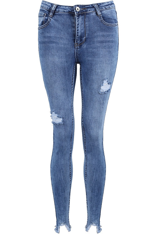 Kelly Faded Ripped & Frayed Ankles Jeans