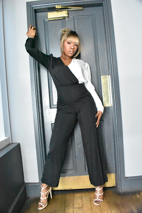 Vyll Black And White Asymmetric Jumpsuit