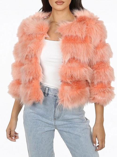Denna Cropped Shaved Tier Patter Fur Coat