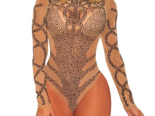 Riffy Nude Rhinestone Faux Bustier Mesh Bodysuit