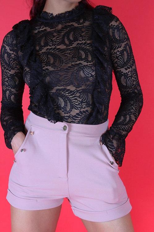 Ariana Black Frill Lace Sheer Top