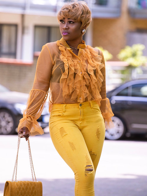 Loza Mustard Mesh Flounce Ruffle Blouse