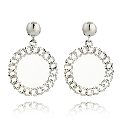 Tally Silver Circular Chain Drop Earring