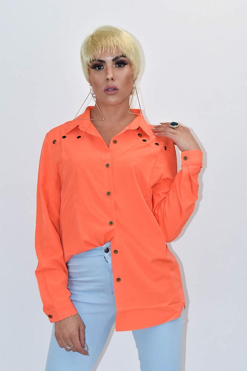 Viola Orange Button Down Shirt