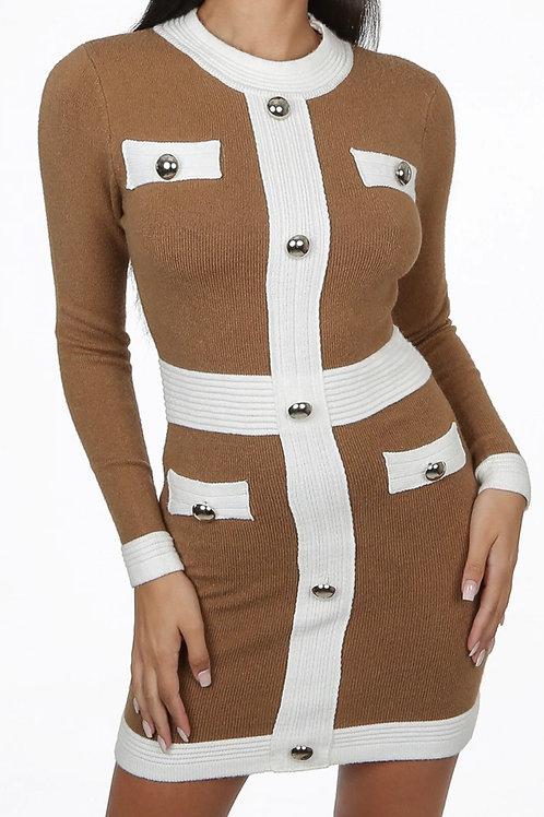 Marina Button Bodycon Dress