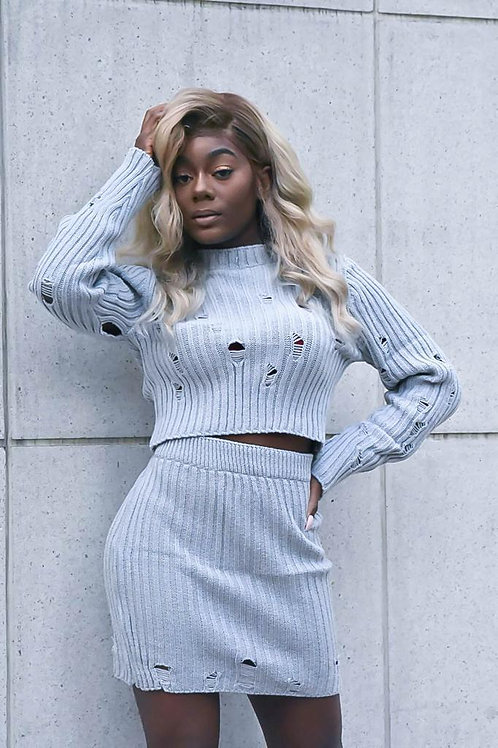 Distressed Ribbed Knitted Two Piece