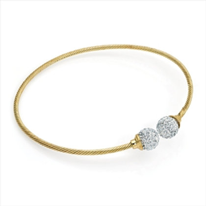 Belle gold twist crystal ball metal collar necklace