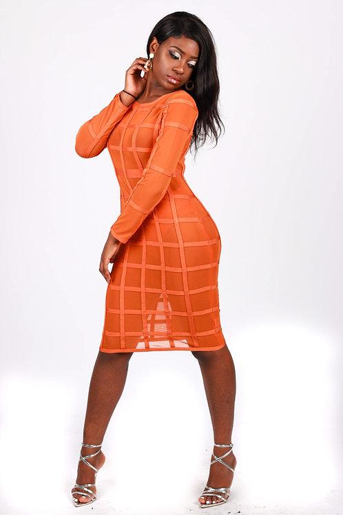 Olia Orange Bandage Dress