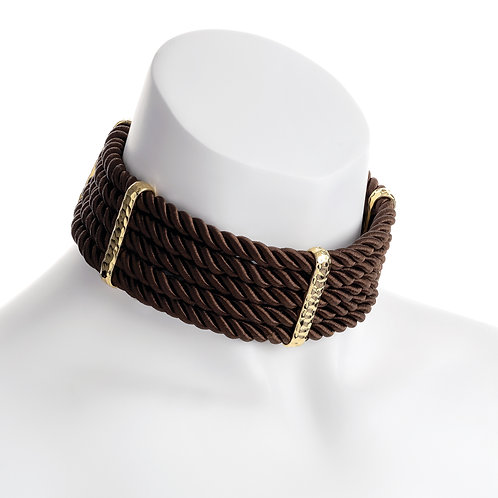 Ivy five row gold brown platted cord choker necklace