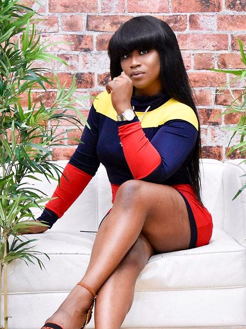 Selma colour block mini dress
