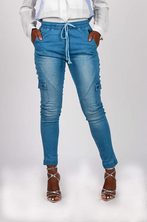 Thuy Drawstring Ankle Pocket Jeans