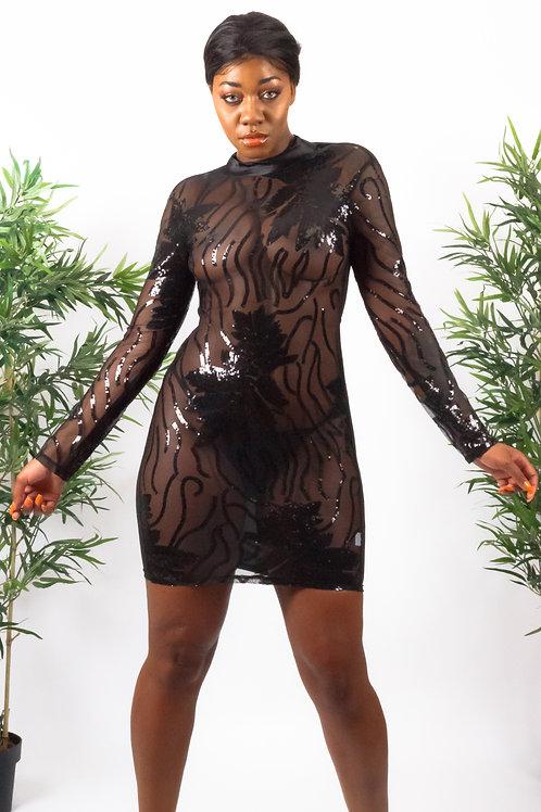 Pearce Black Sequin High Neck Transparent Bodycon Dress