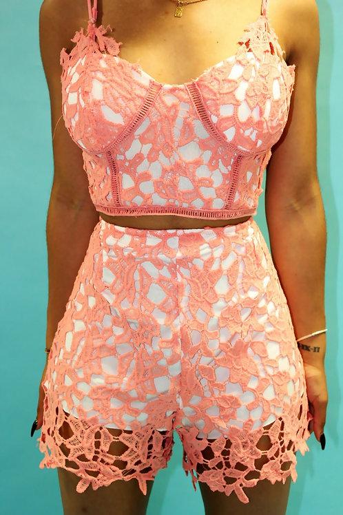 Odette Pinkish Orange 2pcs Sexy Shorts Set