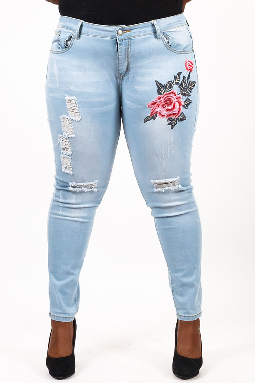 Rosa Embroidery Distressed Light Blue Skinny Jeans