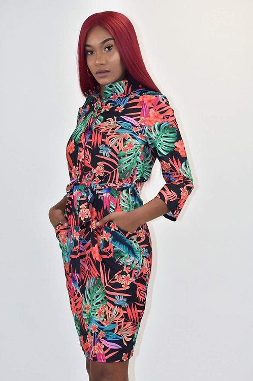 Dolly Tropical Leaf Print Shirt Dress