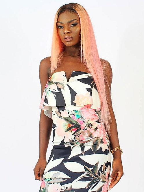 Vito Bandeau V-Bar Fill Floral Midi Bodycon Dress