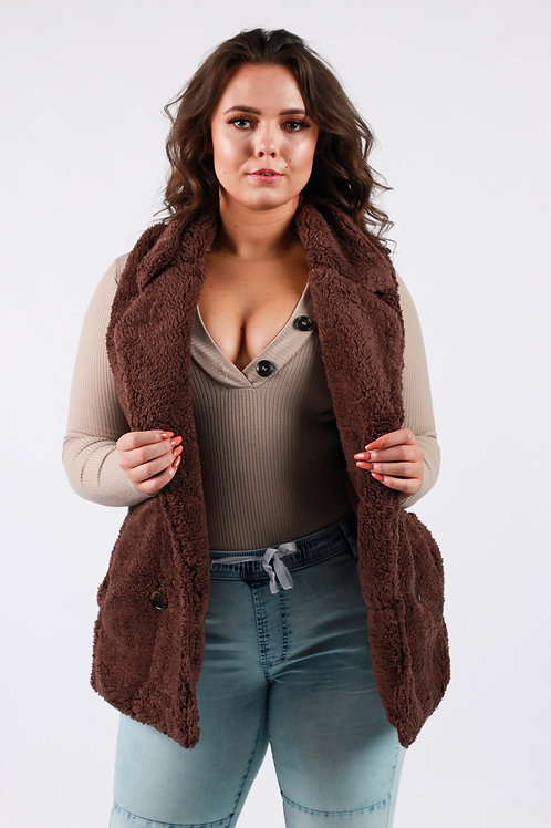 Tiana Chocolate fluffy Gilet