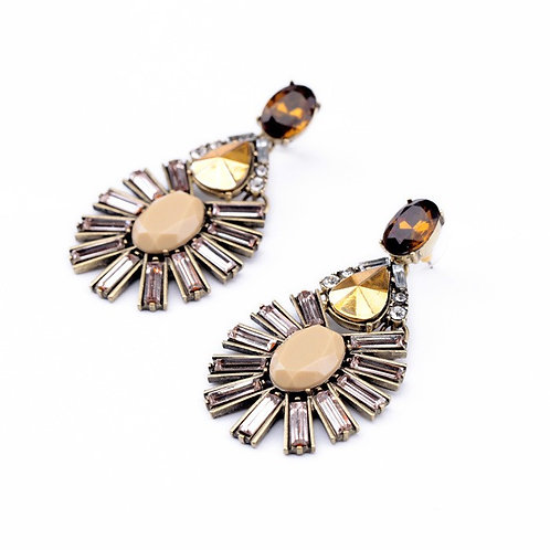 Betty Alloy Drill Set Earrings (Champagne)