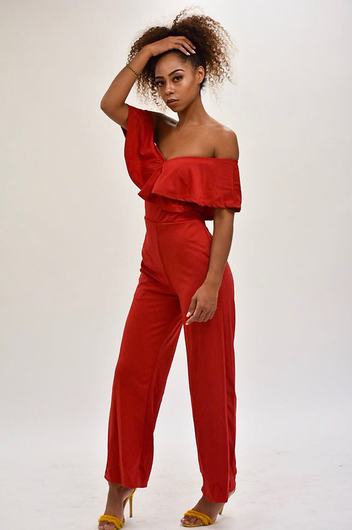Dawn Ruffle Off Shoulder Wide Leg Jumpsuit