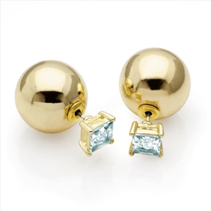 Alan Gold Textured Double Ball Stud Earring