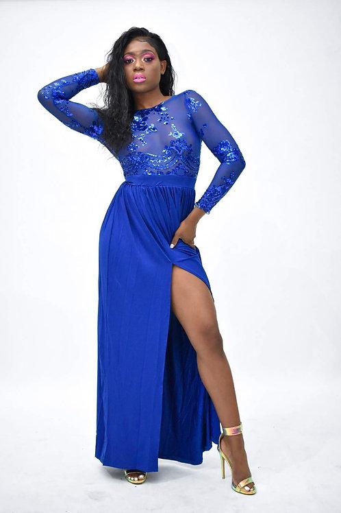 Mye Blue Sequin Thigh Split Dress