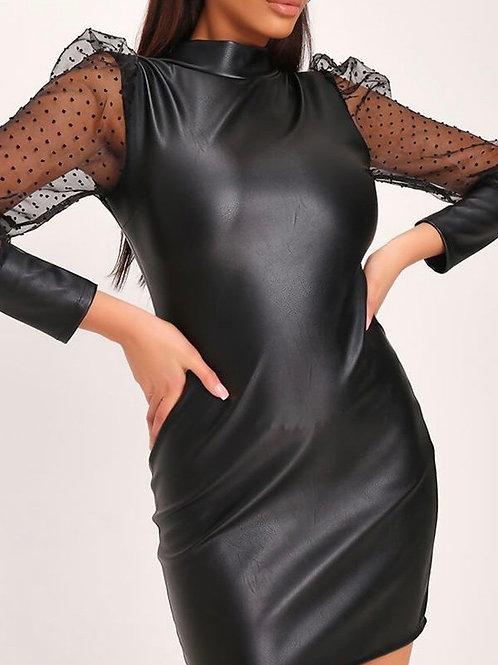 Kolita Black Leather Mesh Dress