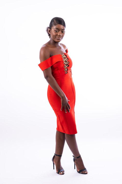 Tezz Gold Chain Crisscross Lace Up Bandage Dress