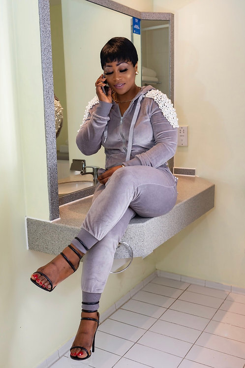 Zahell Grey Heavy Pearl Coord Set