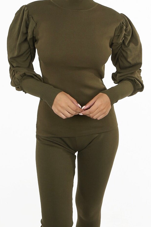 Kanac Ruched Sleeve Loungewear Set