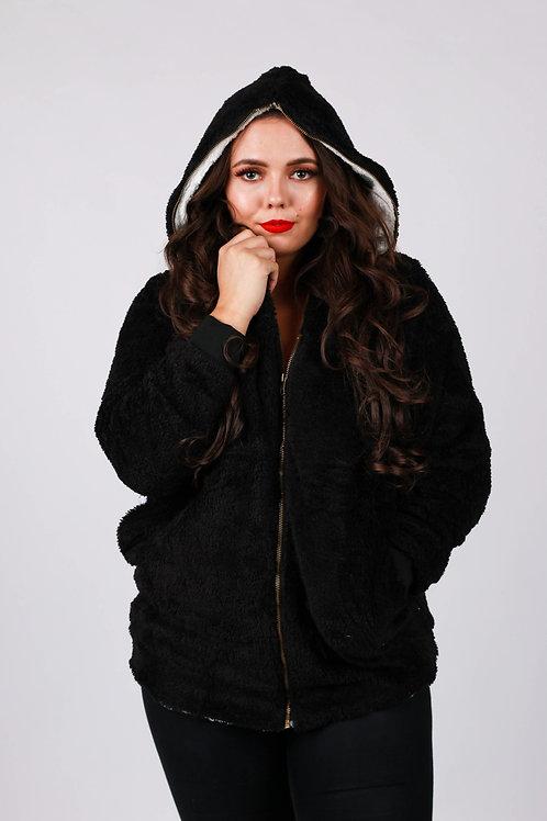 Glencia Black Zip Up Fluffy Hoody