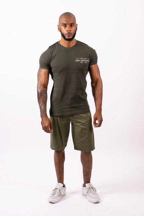Mick Khaki Slim Fit Denim Turn Up Shorts
