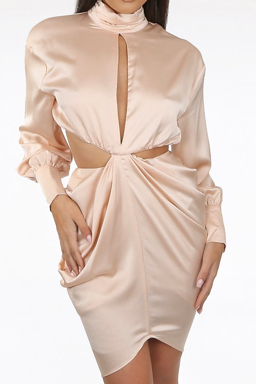 Champagne Front & Back Cut Out Dress