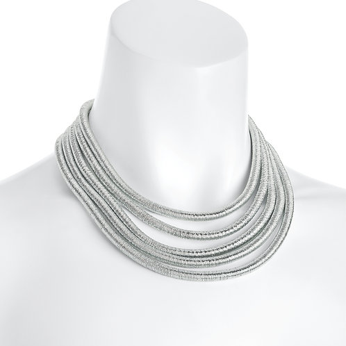 Wendy five row silver necklace with magnetic clasp
