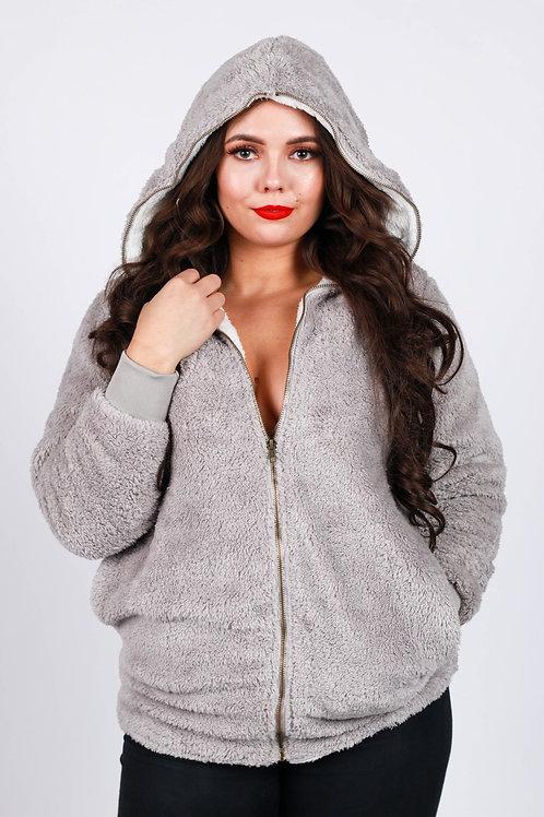 Glencia Grey Zip Up Fluffy Hoody